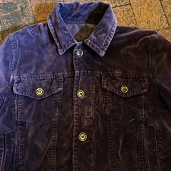 PURPLE COTTON VELVET TRUCKER JACKET HEAVY BRASS BUTTONS