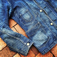 WABASH STIFEL STRIPE INDIGO DENIM RAILMAN WORKWEAR VINTAGE REPRODUCTION JACKET