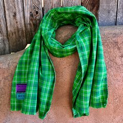WIDE GREEN PLAID SCARF