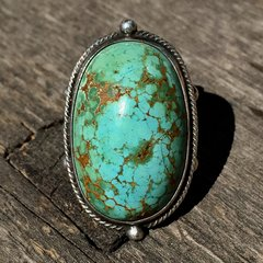 1920s HUGE ROBIN'S EGG BLUE GREEN DOMED PERSIAN TURQUOISE RING with WHIRLING LOGS