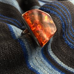 1980s VINTAGE BALTIC AMBER BIG SILVER RING