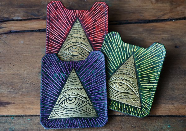 SOLD OUT GOLDEN ILLUMINATI ALL SEEING EYE PYRAMID HAND TOOLED HAND PAINTED CARD WALLET & MONEY CLIP