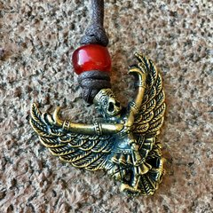 BRASS GARUDA PENDANT on COTTON