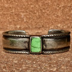 1870s CHISELED INGOT COIN SILVER CUFF WITH RECTANGLE GREEN TURQUOISE