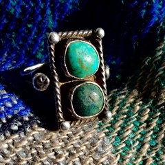 1910s 2 STONE BLUE GREEN TURQUOISE RING