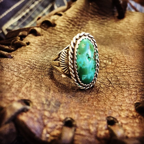 SOLD 1940's GREEN & BLUE TURQUOISE STERLING SILVER RING