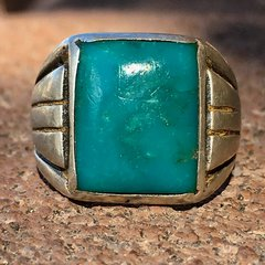 1940s BLUE GEM TURQUOISE BIG SILVER RING