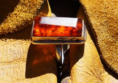 SOLD 1960'S BALTIC AMBER & STERLING SILVER RING