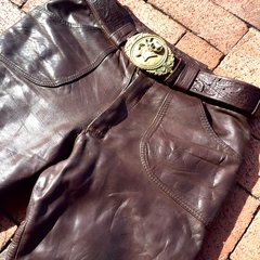 "1960's BRITISH DARK BROWN LEATHER BELL BOTTOMS 30"" X 30"""