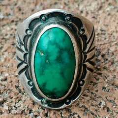 1920s SOLD CIGAR BAND CHISELED SILVER INGOT CERILLOS TURQUOISE RING