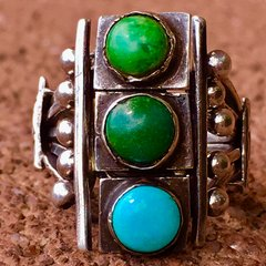 1910s SOLD INGOT SILVER STOPLIGHT HAND DRAWN WIRE TURQUOISE PUZZLE PINKY RING