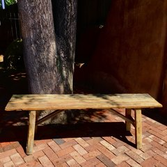 EXTRA STURDY ANTIQUE BOARDS CONTEMPORARY CONSTRUCTION ASIAN LONG PRIMITIVE BENCH