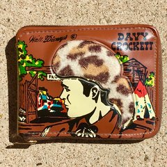 1940s DAVEY CROCKET GUTTED PLEATHER ZIPPER WALLET TO USE FOR CASH OR CHANGE