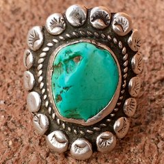 1930s FINGER LONG HEAVY INGOT SILVER LIGHT BRIGHT BLUE GREEN TURQUOISE STAMPED FLORAL RING