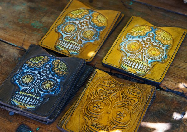 DAY of the DEAD LEATHER CARD WALLET