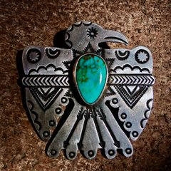 REPRODUCTION1920s INGOT SILVER TURQUOISE THUNDERBIRD PIN