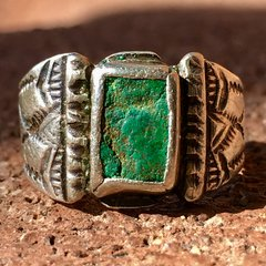 1910s SOLD SMALL RECTANGULAR INGOT SILVER CRUDE TURQUOISE RING