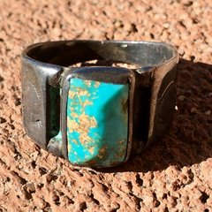 1900 HUGE INGOT BRIGHT BLUE TURQUOISE RING