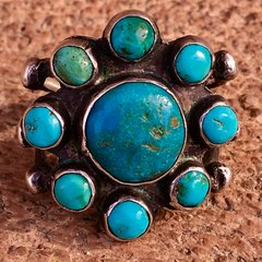 1920s SUPERB BLUE TURQUOISE 9 ROUND STONE INGOT SILVER RING