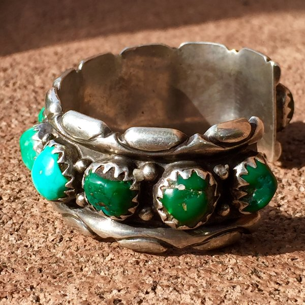 1970s FOX MINE GREEN & BLUE TURQUOISE NUGGET MEN'S BRACELET