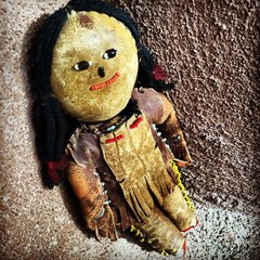 1850s LEATHER BEADED AMERICAN DOLL