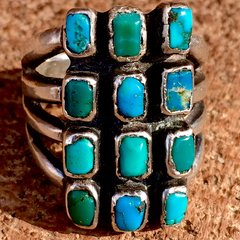 1920s SOLD SILVER INGOT HUMONGOUS 12 GEM QUALITY BLUE & GREEN TURQUOISE STONE RING