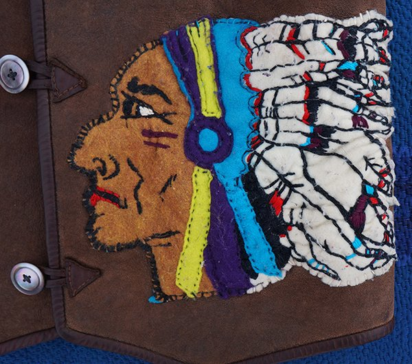 INDIAN CHIEF PATCH SHEARLING VEST