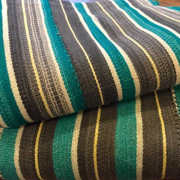 """SOLD MATCHING SET of YELLOW, GREY & GREEN STRIPED 40"""" X 55"""" & 42.5"""" X 59"""""""