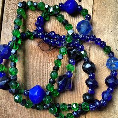 FACETED BRITISH 1880s EMERALD GREEN GLASS, BOHEMIA MADE EARLY FACETED COBALT VASELINE TRADE BEADS, STARS & MOONS STAMPED MOORISH COBALT TRADE BEADS