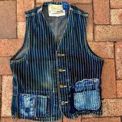 SUGARCANE JAPAN WABASH DENIM SHASHIKO BORO WORKWEAR VEST 38