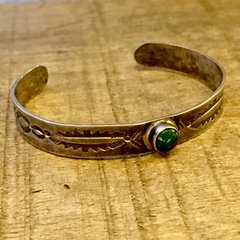 1910s INGOT STAMPES SILVER ROUND GREEN TURQUOISE CHILD'S BRACELET