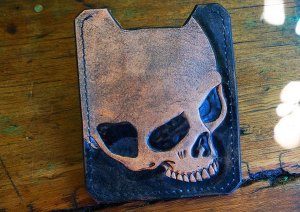 LEATHER SKULL CARD WALLET & MONEY CLIP