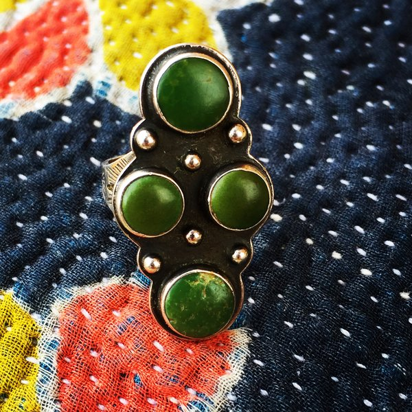 1950s FINE FRED HARVEY 4 GREEN STONE TURQUOISE LONG STAMPED SILVER RING