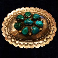 SIGNED TURQUOISE AMERICAN SILVER 1940s or 1950s BELT BUCKLE