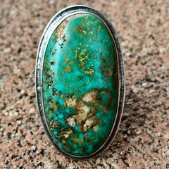 1930s FINGER LONG LOW PROFILE GREEN BLUE OVAL TURQUOISE with QUARTZ RING