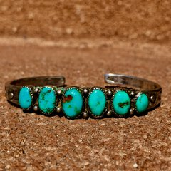 1910s INGOT SILVER HANDCUT BEZELS VIVID BLUE TURQUOISE 6 STONE STAMPED CUFF
