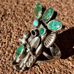 1950s SOLD SIGNED KACHINA KATSINA SILVER SPIDERWEB TURQUOISE CORN MAIDEN RING