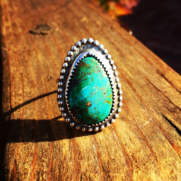 1910s TEAR DROP BLUE GREEN PERSIAN TURQUOISE SILVER RING