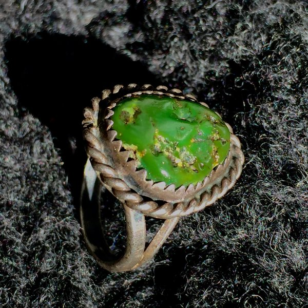 SOLD 1920s DARK OLIVE GREEN TURQUOISE INGOT SILVER PINKY RING