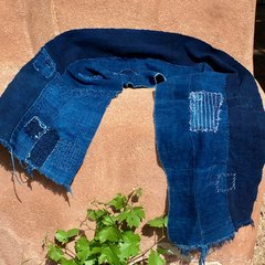 THICK LONG WASBASH DENIM PATCHED SHASHIKO BORO ANTIQUE INDOGO SCARF