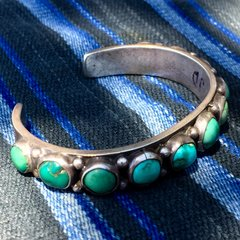 1920s TURQUOISE ROW INGOT SILVER STAMPED CUFF