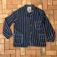 JAPAN PINSTRIPED INDIGO DENIM CHORE COAT by FREEWHEELERS JAPAN