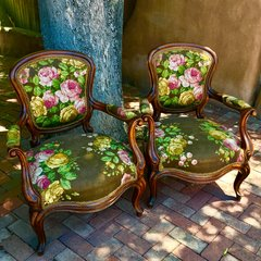 1890s WALNUT PARLOR CHAIR PAIR