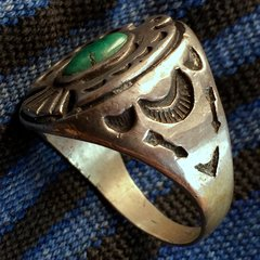 1920s THUNDERBIRD FRED HARVEY ERA ARROWS STAMPED SILVER TURQUOISE RING