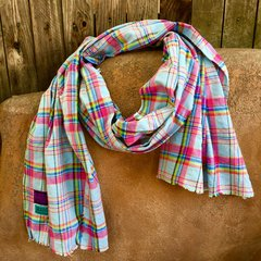 WOVEN PINK, PALE BLUE & YELLOW COTTON PLAID TARTAN BIG SCARF