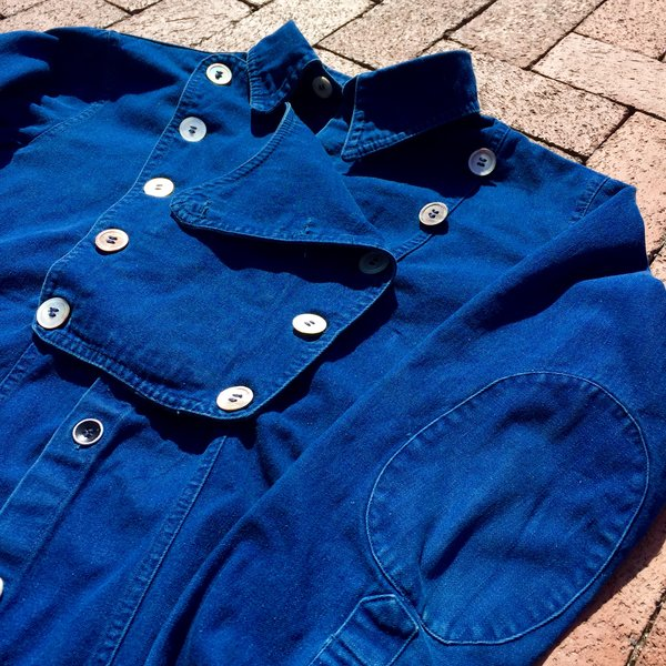 JAPANESE MADE OVERDYED REAL INDIGO DENIM WILD WEST OUTLAW SHIRT with 100 YEAR OLD BUTTONS