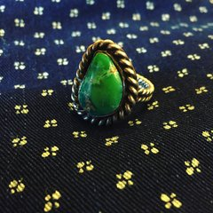 1920s SIGNED WROUGHT INGOT TURQUOISE SILVER RING