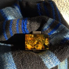 1940s EUROPEAN MOD BALTIC AMBER SILVER RING