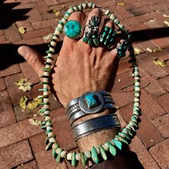 1870s RESTRUNG HAND ROLLED PUMP DRILLED SHELL HEISHI & TURQUOISE TAB NECKLACE