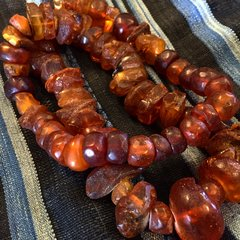 1850s FACETED BALTIC AMBER FACETED BEADS NECKLACE